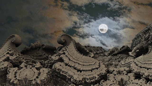 Waves of solidified stone against the background of the moon and clouds. Fractals