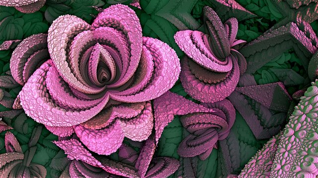 A figure that looks like a purple flower on a background of green leaves, fractals, texture