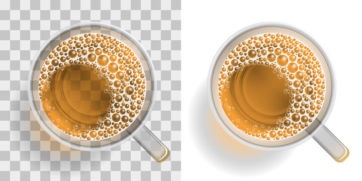 Beer with foam in a mug on a transparent background. Top view. Drink with foam in a mug on a transparent background. View from above.