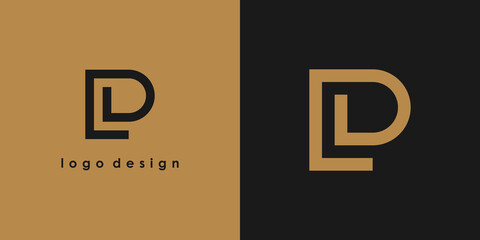 Fototapeta Abstract Initial Letter L and P Linked Logo. Gold Linear Style isolated on Double Background. Usable for Business, Technology and Branding Logos. Flat Vector Logo Design Template Element obraz