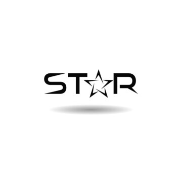 Word star logo with shadow