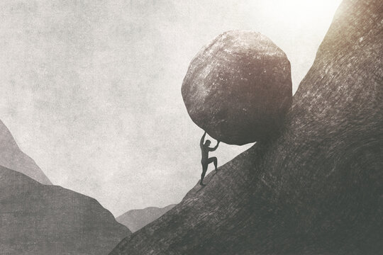 illustration of strong man pushing big rock uphill, surreal concept