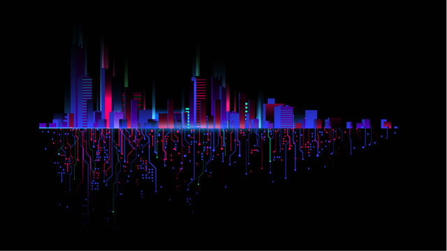 Night city with neon glow on dark background vector 07