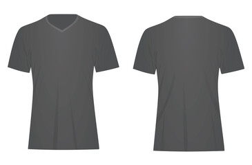 Grey v neck t shirt. vector illustration Fotobehang