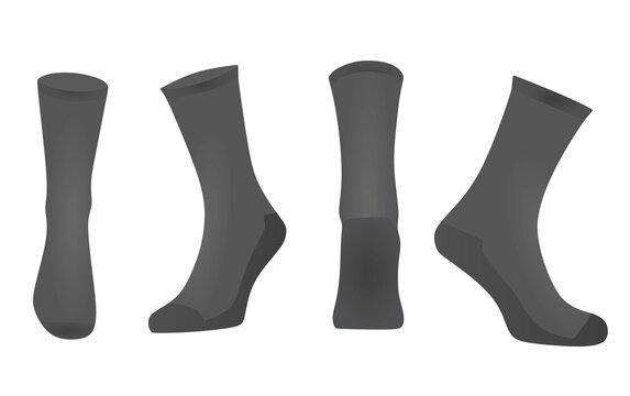 Grey sport socks. vector illustration