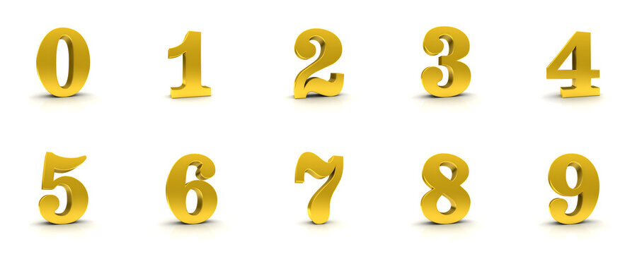 numbers golden signs numerals 3d gold 0 1 2 3 4 5 6 7 8 9 one two three four five six seven eight nine zero symbols icons