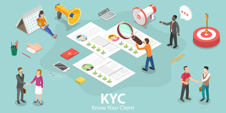 3D Isometric Flat Vector Concept of KYC - Know Your Customer, Anti-Money Laundering Guidelines, Process of Minimizing Financial Risks in Business Relationship.