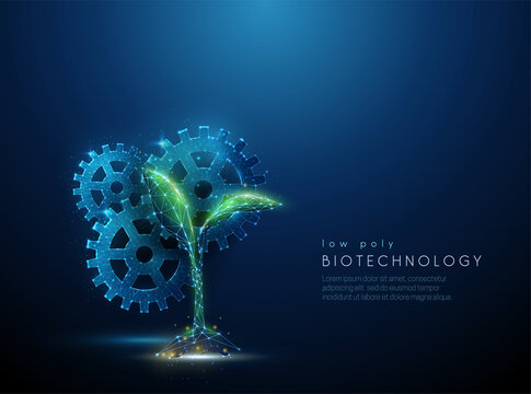 Green plant sprout and cogwheels. Biotechnology concept