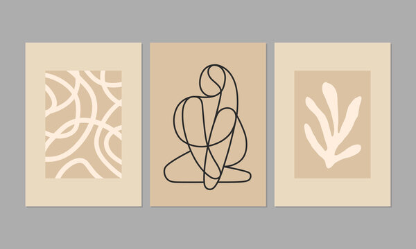 Contemporary aesthetic posters with abstract minimalist illustrations in pastel colors. Great for interior decor, wall art, tote bag, t-shirt print.