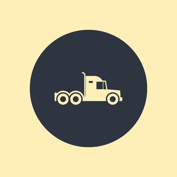 Semi big truck icon on round background
