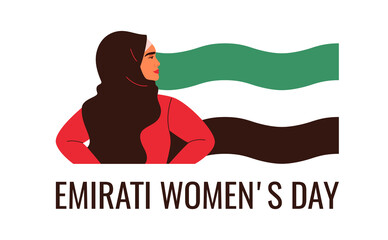 Arabian woman are standing with flag UAE. Emirati Women's day greeting card with young Muslim female wearing hijab. Vector illustration in flat style