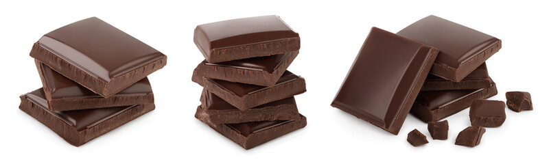 Small dark chocolate pieces isolated on white background with clipping path. Set or collection