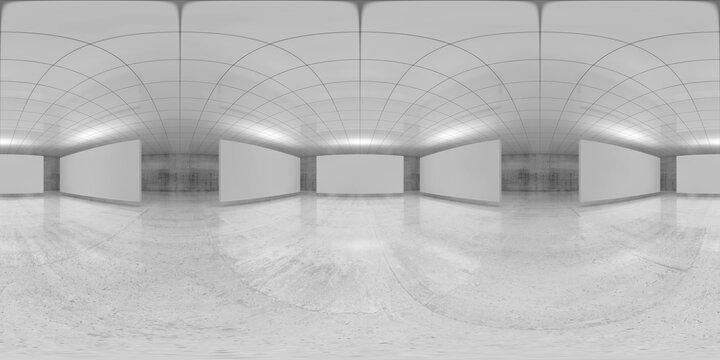 360 degree panorama, empty white hall, 3 d