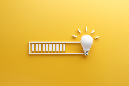 Loading bar almost complete with idea beeing processed on a light bulb on yellow background. 3d render.