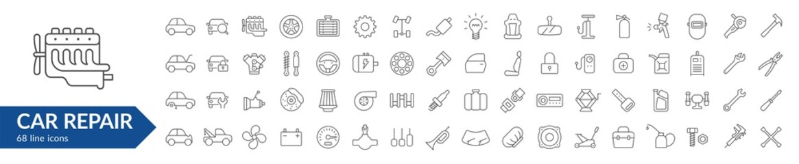 Car repair line icon set. Isolated signs on white background. Services & car parts & toolsVector illustration. Collection