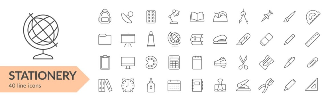 Stationery items line icon set. Isolated signs on white background. Vector illustration. Collection
