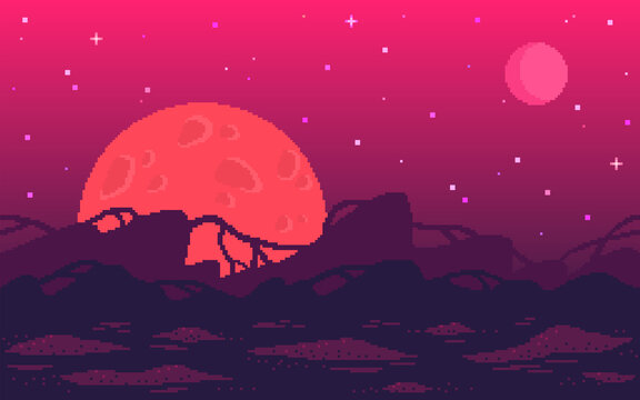 Pixel art game location. Alien red planet with strange plants.