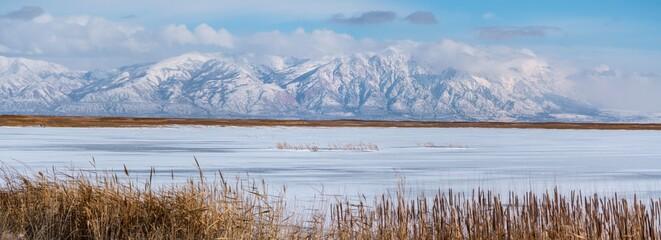 Panoramic shot of Great Salt lake in Utah