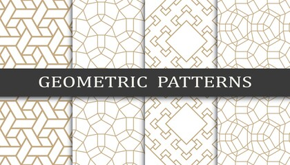 Foto op Canvas Kunstmatig Set of geometric seamless patterns. Abstract geometric graphic design print pattern. Seamless geometric golden lines pattern.