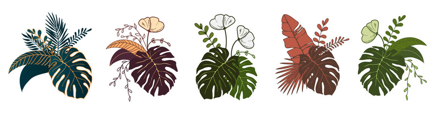 Set Floral composition of plants. Bouquet of tropical leaves and flowers. Botanical freehand line drawing on isolated background. Flat floral design for logo, labels, invitations and patterns.