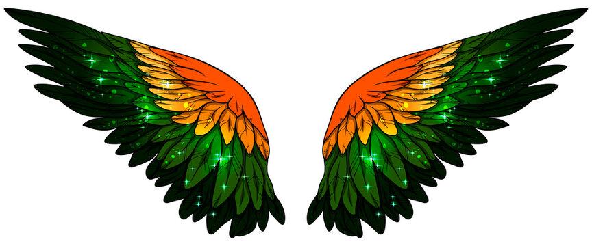 Beautiful magic glittery orange green yellow vector wings