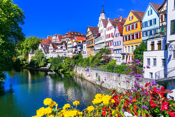 Most colorful towns - traditional Tubingen town decoarated by flowers. Germany