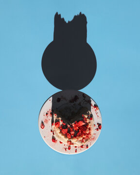 Overhead view of strawberry cake on stand casting shadow