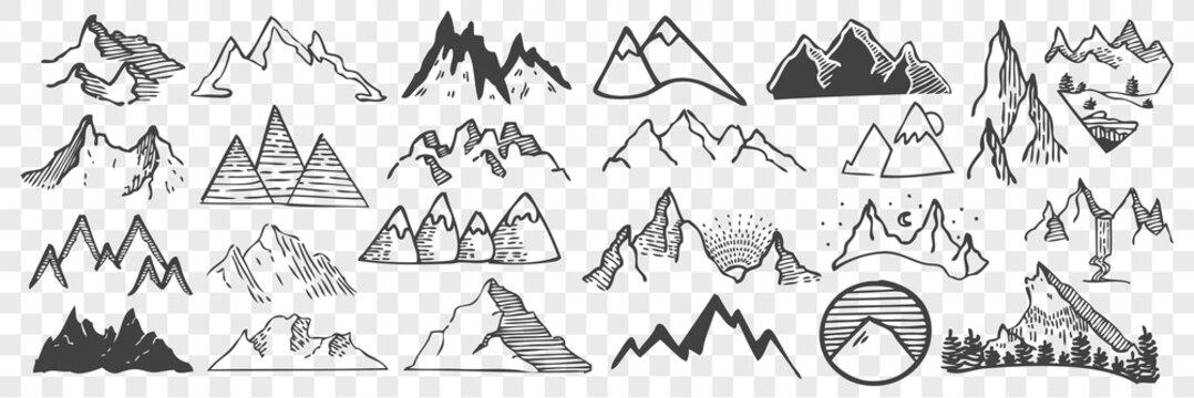 Hand drawn mountain peaks doodle set.