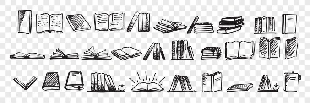 Hand drawn books doodle set