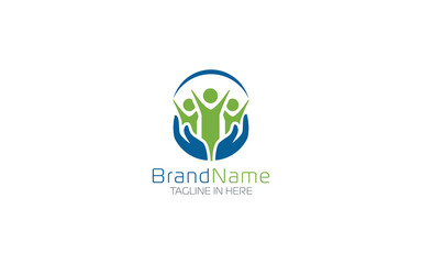 Non Profit logo with hand caring people