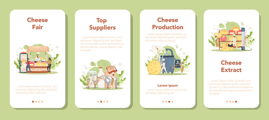 Cheese maker mobile application banner set. Professional chef making