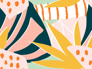 Exotic tropical colorful collage background. Abstract seamless floral vector pattern