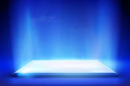 Smartphone light screen. Computer or tablet display. Blue background. Vector illustration.