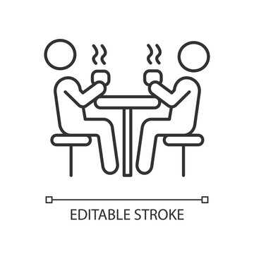 Dining hall pixel perfect linear icon. School cafeteria. Students having lunch at table. Thin line customizable illustration. Contour symbol. Vector isolated outline drawing. Editable stroke