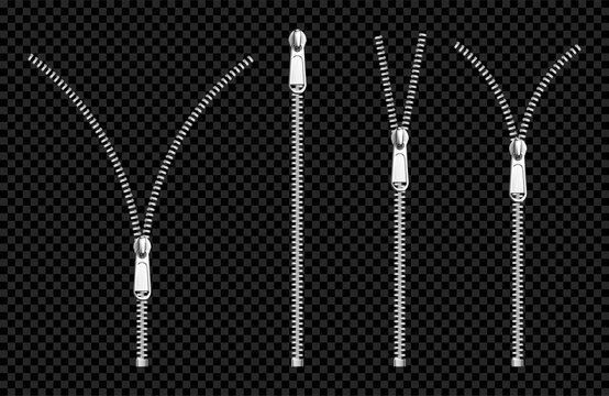 Metal zip fasteners, silver or steel zippers with puller, clothing hardware, apparel accessory, open or close lock for garment isolated on transparent background Realistic 3d vector illustration, set