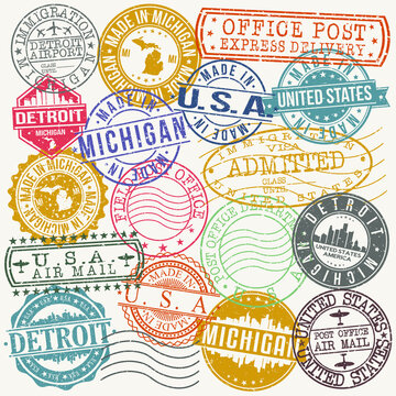 Detroit Michigan Stamp Vector Art Postal Passport Travel Design Set Badge.