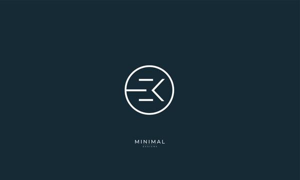 Alphabet letter icon logo EK