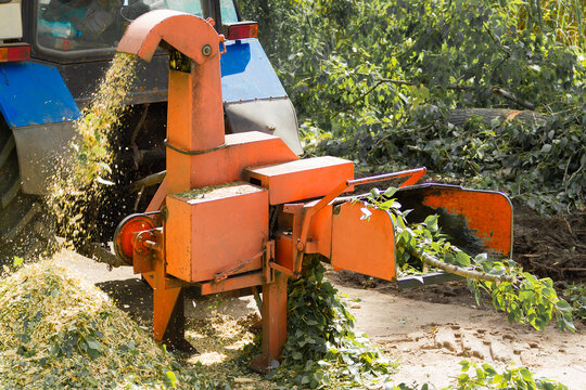 Industrial equipment, shredder of cut branches and twigs in operation. Wood Chipper.