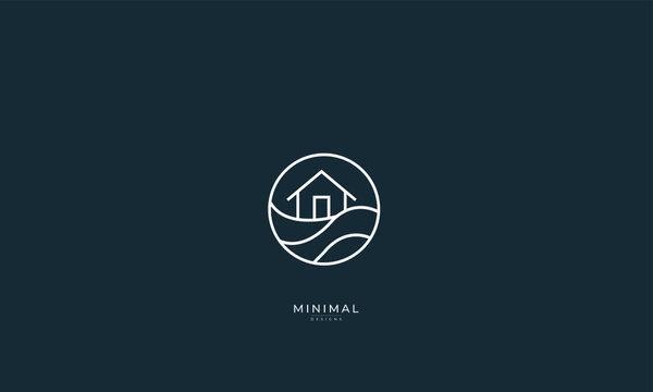 A line art icon logo of a wave with a house, island house