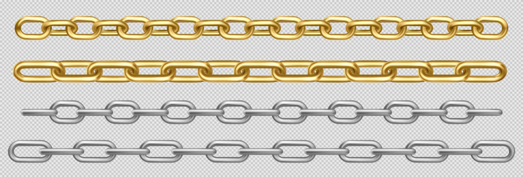 Metal chain of silver, chrome, steel or golden links. Border with connected stainless rings. Straight heavy grey, yellow decorative elements isolated on transparent background realistic 3d vector set