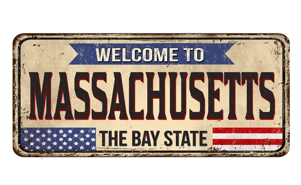 Closeup shot of welcome to the Massachusetts sign or stamp on white background
