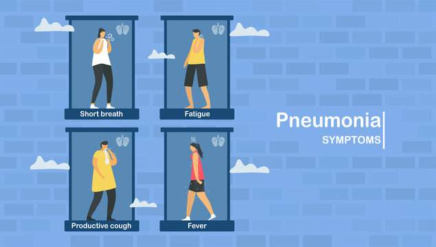 Pneumonia symptoms include short breath, chest pain, productive cough, fatigue and fever. Pulmonology vector illustration about restrictive lung disease.