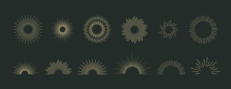 Sun burst vector icons set. Vintage sunburst logo on dark background. Starburst ray or firework design elements. Comic decoration with hand drawn sunshine beams. Diamond emblem.