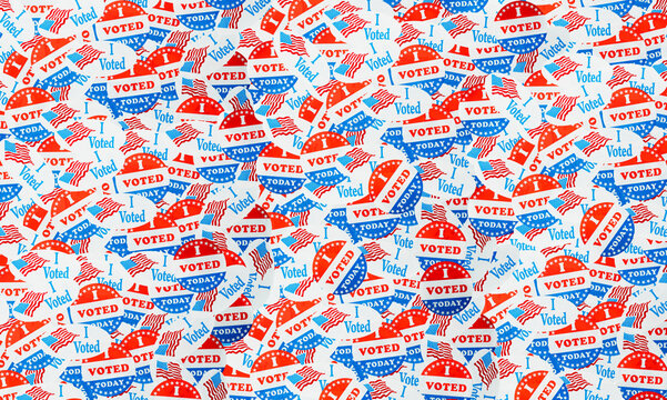 Many voting stickers given to US voters in Presidential election for background to illustrate vote rights