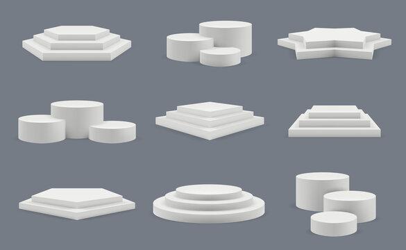 Podium. Pedestal for winners standing blank showroom round platforms floor presentation vector templates. Podium or pedestal winner, stage platform illustration