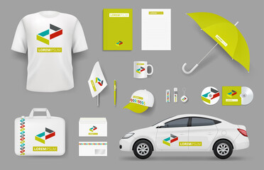 Business identity items. Corporate branding souvenir stationery office tools vector collection. Business identity branding, brand promotional illustration