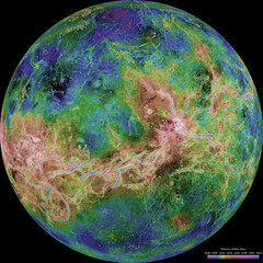 The hemispheric view of Venus, as revealed by more than a decade of radar investigations culminating in the 1990-1994 Magellan mission