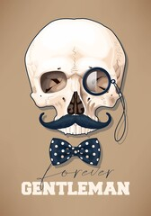 High detailed skull with moustache and monocle