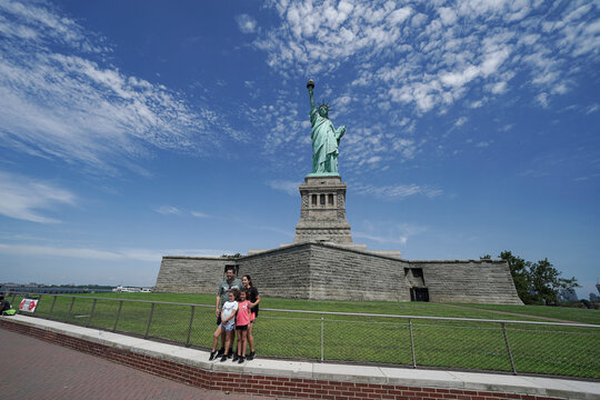 People visit the Statue of Liberty as New York enters Phase 4 of reopening following the outbreak of the coronavirus disease (COVID-19) in New York City
