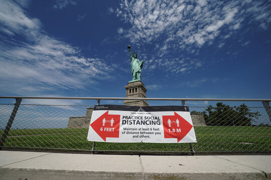 The Statue of Liberty is pictured as New York enters Phase 4 of reopening following the outbreak of the coronavirus disease (COVID-19) in New York City